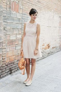 Wedding guest outfit - pastel pink dress and flat shoes