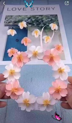 DIY Personalized paper flower garland Make DIY Flower Garland in these easy steps! #DIY cheap  easy decoration ideas   Some of us are far from our families let us make things from our own hands, time and effort for our loved ones.... Also do check out this amazing Personalized Family Tree Name Necklace and Have the names of your loved ones beautifully written on this tree necklace, add up to 9 names :-)<br> Paper Flower Garlands, Paper Flowers Craft, Flower Crafts, Diy Flowers, Origami Flowers, Diy Cards With Flowers, Names Of Flowers, Simple Paper Flower, Easy Origami Flower