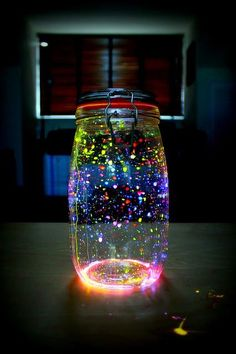 Glow in the dark jar! Really easy to make. You need glow sticks and an empty jar.