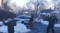 A New Rochelle, N.Y., police officer is under fire after pointing a gun at a group of teens throwing snowballs on a side street earlier this week.