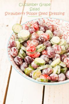 We loved this cucumber salad with grapes and strawberry poppy seed dressing! Making it again soon! ohsweetbasil.com