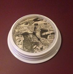 White Wall Clock Finished with Incredible Hulk Marvel Comic in Black & White