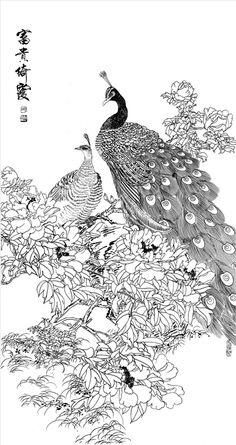 a sample image Art Nouveau Flowers, Peacock Painting, Peacock Decor, Chinese Embroidery, National Museum, Printable Coloring Pages, Chinese Art, Japanese Art, Flower Power