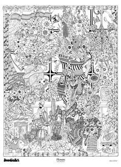 Amazon.com: The Original DoodleArt Flowers Coloring Poster: Toys & Games