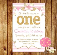 Pink and Gold First Birthday Party Invitation, Gold Glitter, One, Pink Stripes, Personalized, First Birthday