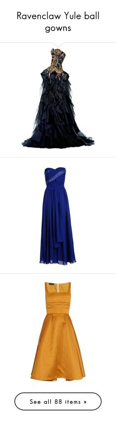 """Ravenclaw Yule ball gowns"" by weeby ❤ liked on Polyvore featuring fans, dresses, gowns, vestidos, long dresses, alexander mcqueen dresses, blue dress, alexander mcqueen gowns, blue evening dress and blue evening gown"