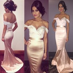 Upd0201, Mermaid, satin, off-shoulder, open back, with trailing, lace prom dresses