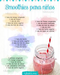 Healthy and Easy to Make Smoothies for Your Kids Healthy Kids, Healthy Drinks, Healthy Snacks, Healthy Recipes, Kids Nutrition, Health And Nutrition, Toddler Meals, Kids Meals, Menu Vegan