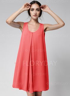 Dresses - $47.16 - Chiffon Solid Sleeveless Above Knee Casual Dresses (1955123432)