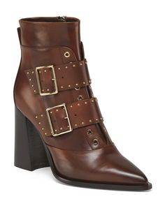 Made In Italy Leather High Heeled Booties