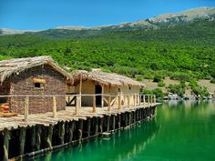 Bay of the Bones Museum - Ohrid, Macedonia.     The history of this ancient city (now a museum) on wooden pillars dates back to the years between 1200 to 700 before Christ.