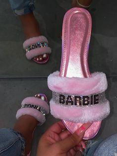 Okurrr Slippers, Bridesmaids, Barbie Tingz Pink Slides, Gold Digger Rhinestone Fur Flip Flops US Shoe Size (Women's): US 5 - US 11 Cute Sandals, Cute Shoes, Me Too Shoes, Glitter Sandals, Fluffy Sandals, Pink Slides, Cute Slippers, Crocs Slippers, Women Slides