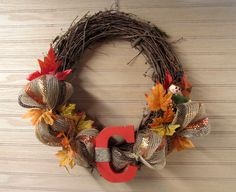 Fall Wreath, Monogram Wreath, Deco Mesh, Fall Grapevine, Fall Monogram, Porch Wreath, Entry Wreath, Fall Door Wreath, Fall Decor by MnMadeWreathsNThings on Etsy