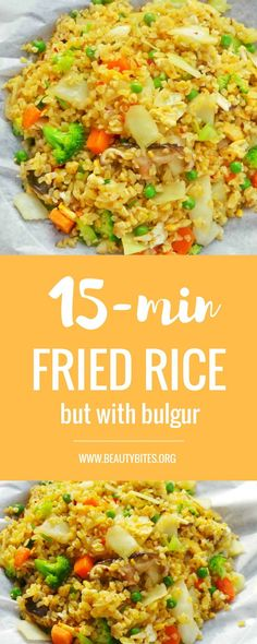 Delicious quick healthy vegetable fried rice recipe - except instead of rice you use bulgur. This is one of my favorite quick, easy healthy dinner recipes that you can even meal prep - keeps in the fridge for up to 3 days! Try it!