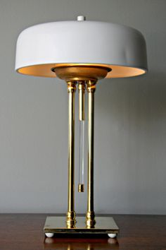Items Similar To Vintage Art Deco Brass Aluminum Desk Lamp ~ Glass Switch  Bankers Style Desk Lamp On Etsy