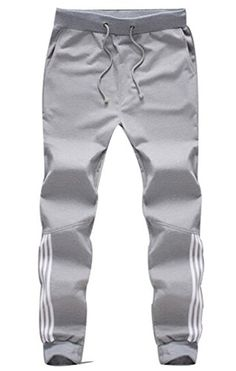 Myncoo Men's Skinny Cotton Jogger Pants Drastring Sweatpants Light Grey