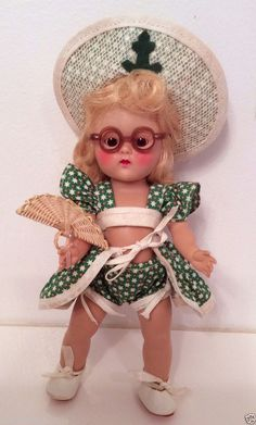 "VINTAGE VOGUE STRUNG GINNY DOLL ""BEACH"" 1952 SPORT SERIES, ADORABLE OUTFIT"