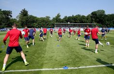 England pictured training on Tuesday morning with the start of Euro 2016 just three days away