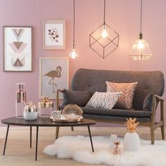 Pink and Grey Living Room Modern Decor Geometric Lighting Living Room Grey, Living Room Modern, Home And Living, Living Area, Blush Grey Copper Living Rooms, Copper Living Room Decor, Blush Pink Living Room, Copper Bedroom, Pastel Living Room