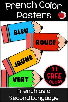 Free French color posters for the classroom. Having reference posters in a French as a Second Language classroom is helpful to all students. There are 11 free color posters. Brown and Purple have 2 versions so you can choose which one you want for your students. Low prep --- just print and display! Great for directly teaching the colors in french. #french #frenchintheclassroom #couleurs French Teaching Resources, Teaching Activities, Teaching French, Learning Resources, Teaching Ideas, Teacher Blogs, Teacher Hacks, Sorting Colors, Classroom Solutions
