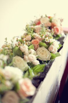 love the long flower box for these peachy soft roses