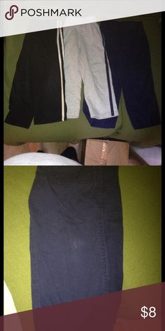 Three 3T boys pants 3 pairs of boy pants. There is a small tear on the navy pants at the knee but other than that they are in great condition. Bottoms Casual