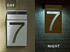 Solar House Numbers, Front Door Makeover, Devine Design, Lighting Design, Sign Lighting, Signage Design, Metal Homes, Diy Solar, Facade House