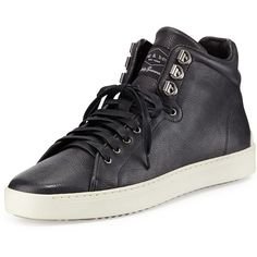 Rag & Bone Kent Leather Mid-Top Sneaker ($350) ❤ liked on Polyvore featuring shoes, sneakers, black, black leather shoes, black lace up shoes, leather sneakers, leather trainers and leather lace up shoes