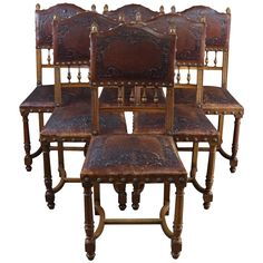 Antique Dining Chairs Henry II Renaissance 1900 - Set of 6 Oak Dining Room Chairs, Antique Dining Chairs, French Dining Chairs, Side Chairs, Dining Set, Renaissance, Walnut Chair, Traditional Dining Rooms, Western Furniture
