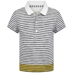 Burberry Baby Boys White Black & Yellow Striped Polo Top