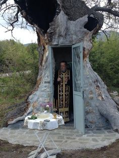 A oak tree has been saved from destruction by a pious Greek villager who decided to build a chapel to St. Beautiful Sites, Beautiful Places, Magical Tree, Old Oak Tree, Picture Icon, Chapelle, Athens Greece, Greece Travel, Macedonia