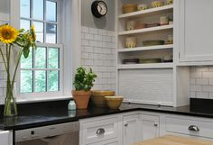New York Transformation - traditional - Kitchen - New York - Crisp Architects Grey Kitchen Floor, Kitchen Flooring, Kitchen Black, Kitchen Tiles, White Kitchen Interior, Interior Design Kitchen, Black Kitchens, Home Kitchens, Rustic Kitchen