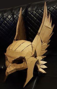 Your place to buy and sell all things handmade - Hawkman Mask DIY Cardboard Helmet Kit Thor Bird Man by Calabozoida - Cardboard Costume, Cardboard Mask, Cardboard Sculpture, Cardboard Crafts, Cardboard Play, Cosplay Tutorial, Cosplay Diy, Cosplay Costumes, Halloween Costumes