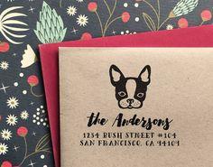 Custom Address Stamp - with French Bulldog / Frenchie - Return Address Stamp, gift for holidays, housewarming and weddings, birthday