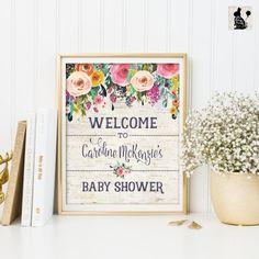 FLORAL Baby Dusche Willkommensschild. Blume von BlueBunnyPrintables