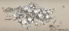 Medieval Town Sketch by SourShade on deviantART Town drawing Village drawing Medieval