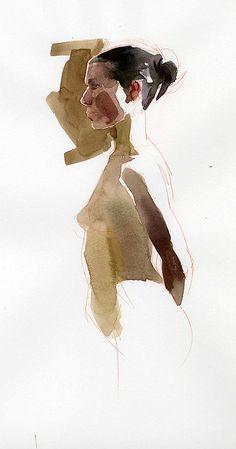 Watercolor Sketch, Watercolor Portraits, Watercolor Paintings, Figure Sketching, Figure Drawing, Figure Painting, Painting & Drawing, Anatomy Art, Art Graphique