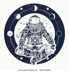Astronaut and Universe t-shirt design. Spaceman silhouette sitting in lotus pose of yoga tattoo. Astronaut in the lotus position tattoo art. Symbol of meditation, harmony, yoga
