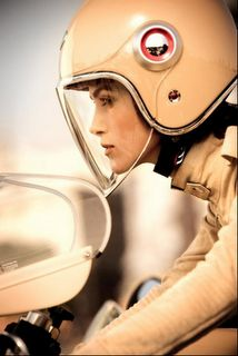 Cream Leather Chanel and a Ruby helmet
