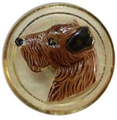 Cream Glass with Brown Dog Head