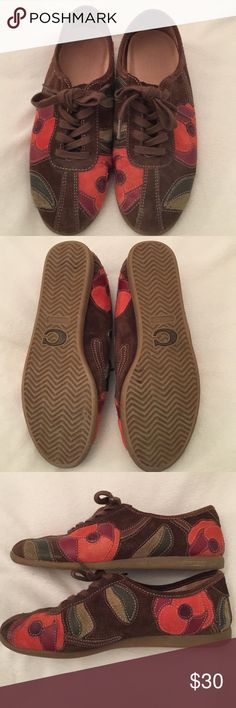 Coach floral suede tennis shoes size 5 Excellent condition only wore a few times. Size 5 tennis shoes. Very comfortable. Coach Shoes Sneakers