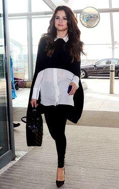 Looks de stars mode: Selena Gomez-----Arrivant à l'aéroport Heathrow à Londres le 11 mars 2016-----------------Vous avez le syndrome FOMO (fear of missing out: la peur de manquer quelque chose)? Nous avons le remède… Difficile de garder le focus et d'éplucher tous les looks des célébrités au quotidien! Des premières de films jusqu'aux vols LAX–Charles-de-Gaulle, en passant par les partys de piscine, LOULOU compile juste ici les plus jolies tenues que les stars (connues ou obscures) ont…
