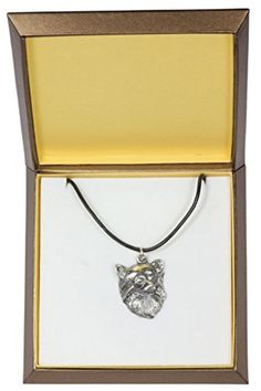 NEW, Chihuahua (long haired), dog necklace, in casket, limited edition, ArtDog *** You can find more details by visiting the image link.
