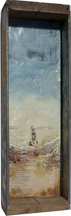 ReVision No. 9, Robin Luciano Beaty, Encaustic, mixed-media and vintage found objects, 17 inches by 5.5 inches, ready to hang
