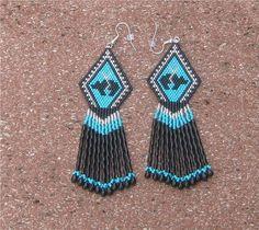 Native American Inspired Beaded FETISH BEAR EARRINGS by Beading4u, $25.00