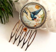Small hair comb in silver with beautiful bird motif with swallow and letter, Animal Hair jewelry, gift for her, round comb - pinned by pin4etsy.com