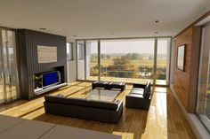 Sunny living room with black furniture and light wood floor