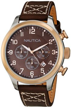 Nautica Men's N17648G BFD 101 Classic Brown Leather Chronograph Watch ** Click image for more details.