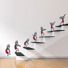 Buy DeStudio 'Kokopelli Red Band' Wall Sticker (PVC Vinyl Film, 110 cm x 75 cm x… - Work-toptrendpin. Creative Wall Painting, Creative Wall Decor, Wall Painting Decor, Mural Wall Art, Creative Walls, Diy Wall Art, Diy Wall Decor, Diy Home Decor, Room Decor