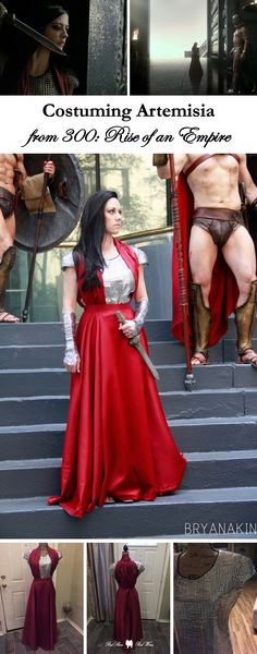 Costuming Artemisia from 300: Rise of an Empire (costume, cosplay, 300 film, Eva Green, cosplayer, DragonCon, 300 dc Spartans, Xerxes, red dress, villain, bad girl)